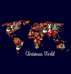 christmas world map with new year holiday symbols vector image