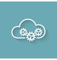 cloud computer concept symbol with gears vector image vector image