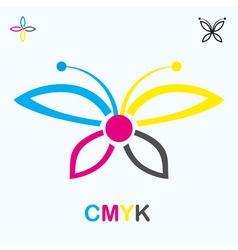 CMYK icon in shape of a butterfly vector image vector image
