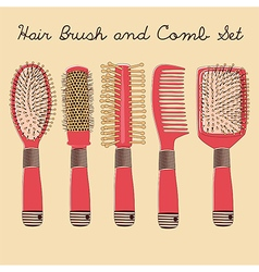 Five hair comb and brush set vector