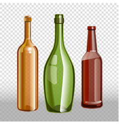 Glass bottles or glassware icons on vector