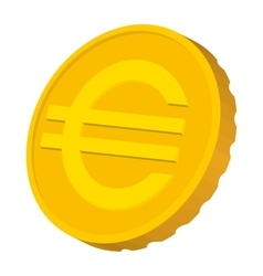 Gold coin with Euro sign icon cartoon style vector image