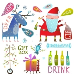 Happy new year merry christmas clip art collection vector