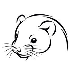 Line ink ferret head simple vector