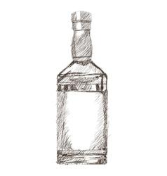 liquor bottle sketch icon vector image vector image