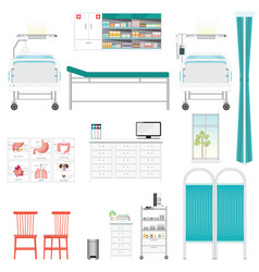 medical equipment and furniture in hospital vector image vector image