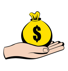 Money in hand icon icon cartoon vector