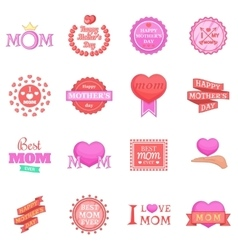 Mother Day icons set cartoon style vector image
