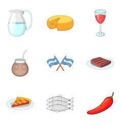 National cuisine icons set cartoon style vector