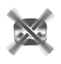 No burger sign gray icon shaked at white vector