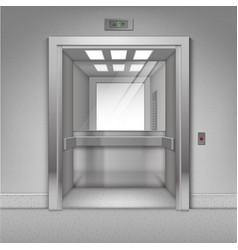Open metal office building elevator with mirror vector