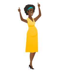 pregnant woman standing with raised arms up vector image vector image