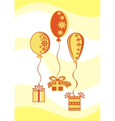 Presents and balloons vector image vector image
