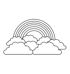 Rainbow and cloud in the sky vector
