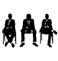 set of businessmen sitting on chairs vector image