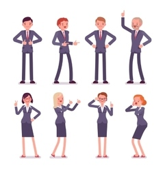 Set of eight business male and female characters vector
