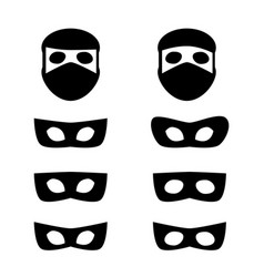 set of festive masks and thief icon vector image vector image