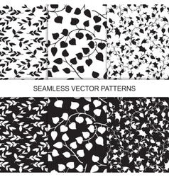 set of seamless floral pattern with leaves vector image