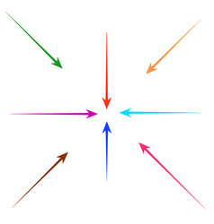 set of straight colorful arrows for design vector image