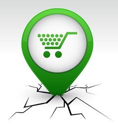 Shopping green icon in crack vector