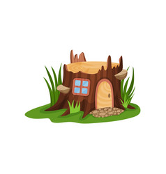 Small fairy-tale house in form of old stump vector