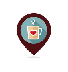 Tea cup with heart and steam pin map icon vector