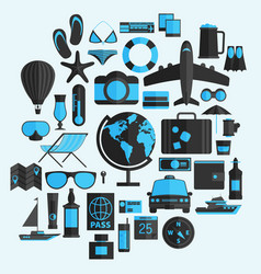 travel vacation flat design set concept travel vector image vector image