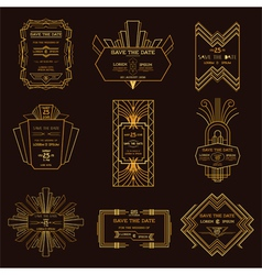 Wedding invitation cards - art deco vintage style vector