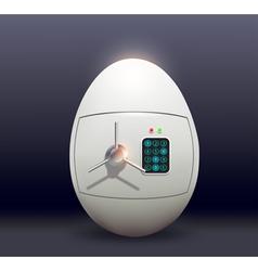 White metal safe as chicken eggs vector