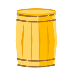 wooden barrel with iron rings cartoon vector image