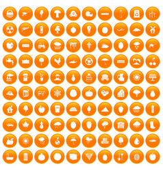 100 fruit icons set orange vector