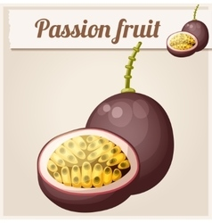 Passion fruit maracuja cartoon icon vector