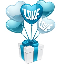 Background with balloons in the shape of heart and vector image