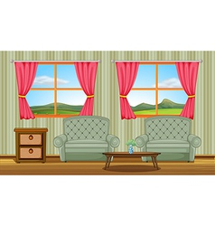 A cushion chairs and side table vector