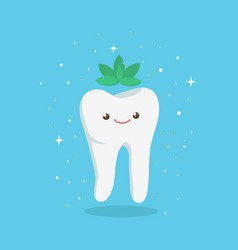 Tooth with mint vector