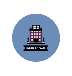 Stylish icon in color circle building apartment vector