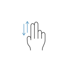 2 finger up and down line icon hand gestures vector