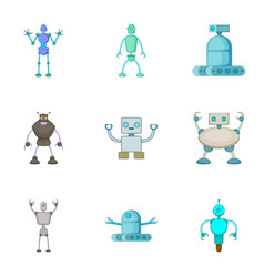 Robots invaders icons set cartoon style vector