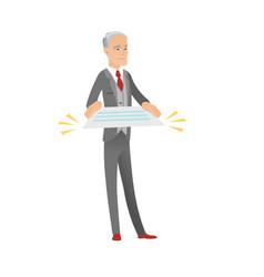 Senior caucasian businessman holding a contract vector