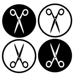Set round scissors icon vector