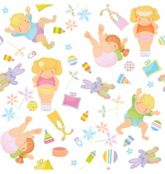 cute pattern of funny kids vector image