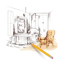 Bedroom sketch interior vector