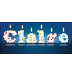Claire written with burning candles vector