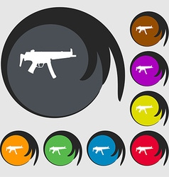 Machine gun icon sign symbol on eight colored vector