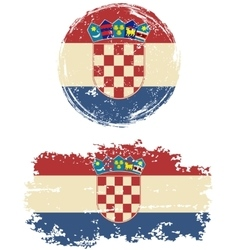 Croatian round and square grunge flags vector