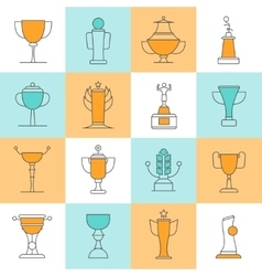 Awards line icons set vector