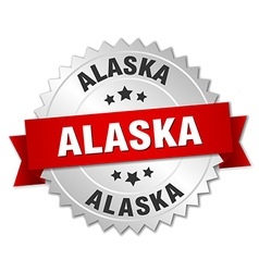 Alaska round silver badge with red ribbon vector