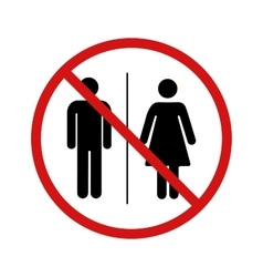 No toilet forbidden sign on white vector