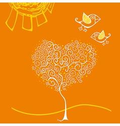 Cartoon birds above romantic flowers holding heart vector