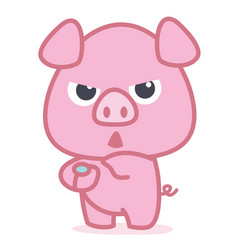 character of pink pig cartoon vector image